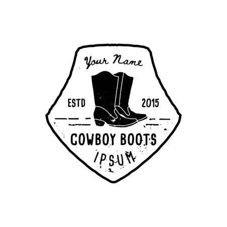 Western Logo cowboy boots hand Draw Grunge style. Wild West symbol sing of a cowboy boots and Retro Typography. Vintage Emblem for hand made cowboy boots, poster, t-shirt, cover, banner Иллюстрация