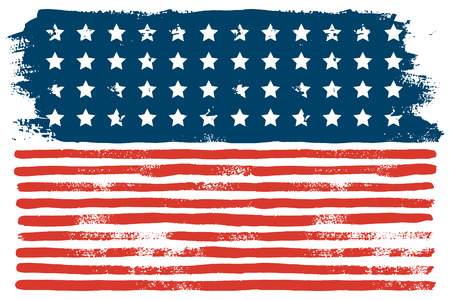 July 4th USA flag hand draws the brush strokes. Vector abstract grunge background. American independence day celebration Wallpaper. Template for holiday banner, greeting card, invitation, poster