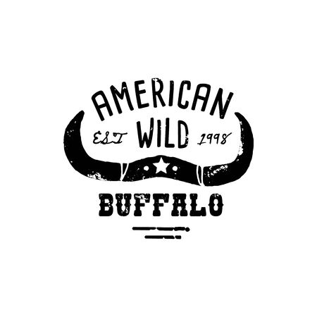Western Logo Skull Buffalo hand Draw Grunge style. Wild West symbol sing of a cows Horns and Retro Typography. Vintage Emblem for T-shirt Print. Vector Silhouette Illustration Cow