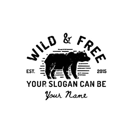 Vintage Grizzly Bear Logo Hand Draw. Vector Symbol Of Wild America, The Silhouette Of A Bear. Vintage typography is Wild and Free. Template for print, poster, t-shirt, cover, banner or other business