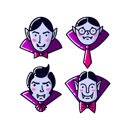Halloween Character Dracula Vampire flat line style. Set of Vector illustration of man vampire icon isolated on white background.