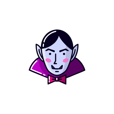 Halloween Character Evil Dracula Vampire flat line style. Vector illustration of man vampire icon isolated on white background.