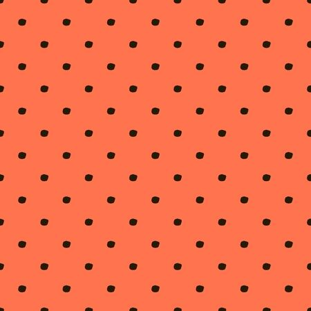 Vector seamless hand draw polka dot brush Peach pattern. Summer Coral backgrounds of primitive with brown dots for textile design, for covers of notebooks and other  イラスト・ベクター素材