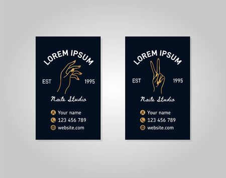 Two vertical templates gold business card with a female hand in a trendy linear style.  イラスト・ベクター素材