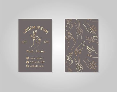 Double-sided Gray gold business card with a female hand in a trendy linear style.  イラスト・ベクター素材