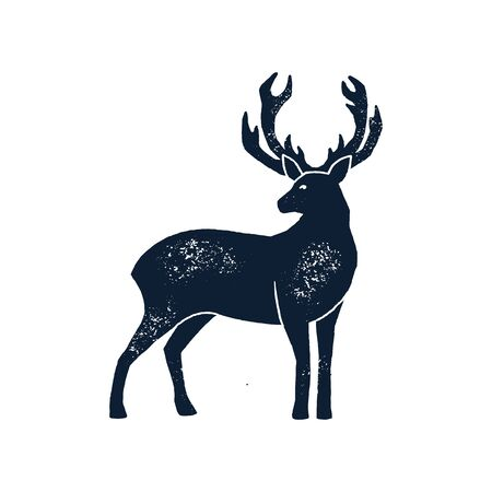 Hand draw Deer Silhouette Grunge. Vector illustration of a Wild Animal stag Isolated on a white background with a worn texture.