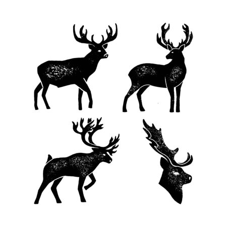 Set Hand draw Deer Silhouette Grunge. Black Vector illustration of a Wild Animal stag Isolated on a white background with a worn texture.