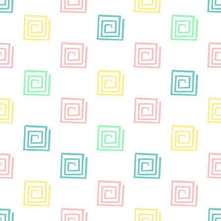 Hand Draw Squares spiral Pattern Kids Blue, Pink, Mint, Yellow. Vector Endless Background pencil Texture of squares in pastel colors. The template for the packaging, baby textile, website background
