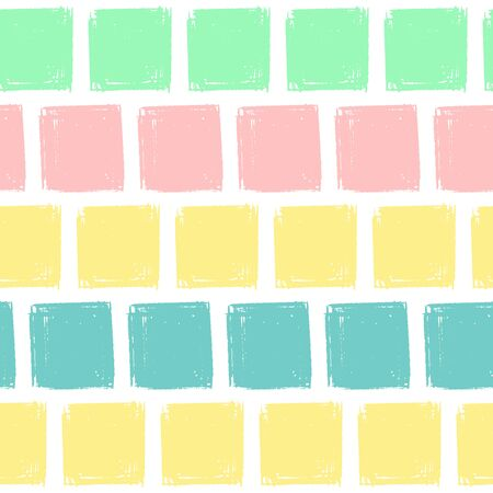 Hand Draw Squares Pattern Kids Blue, Pink, Mint, Yellow. Vector Endless Background pencil Texture of squares in pastel colors. The template for the packaging, baby textile, website background Çizim