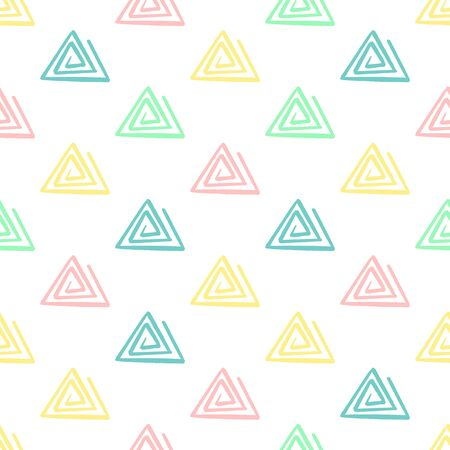 Hand Draw triangle Pattern Kids Blue, Pink, Mint, Yellow. Vector Endless Background pencil Texture of triangle in pastel colors. The template for the packaging, baby textile, website background Çizim