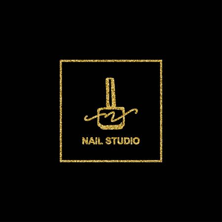 Nail polish with golden glitter texture on black background in a trendy linear style. logo for a beauty salon or a manicurist. template for packaging nail Polish, nail, soap, beauty store. Ilustrace