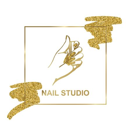 vector gold emblem with a female hand in a trendy minimalist linear style.