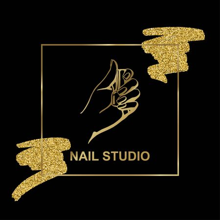 vector gold emblem with a female hand on black background in a trendy linear style. Ilustrace