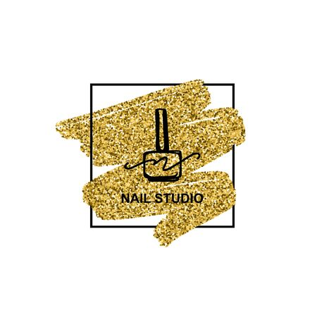 Nail polish logo with golden glitter texture in a trendy minimalist linear style.