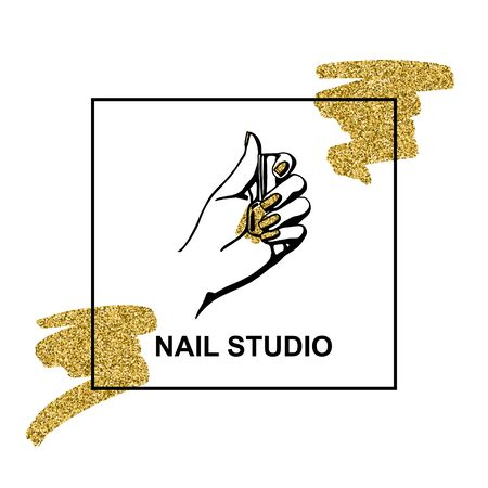vector gold emblem with a female hand in a trendy minimalist linear style. logo for a beauty salon or a manicurist. Ilustrace