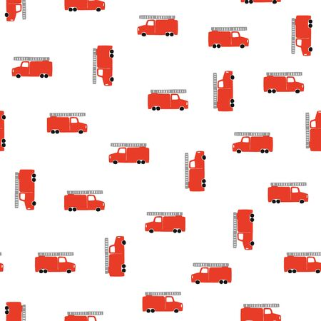 Hand Draw A Fire Truck Seamless Pattern. Vector Boyish Background in Scandinavian Style. Red fire Cute Cars Isolated on White Background.