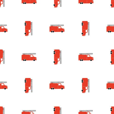 Hand Draw A Fire Truck Seamless Pattern. Vector Boyish Background in Scandinavian Style. Red fire Cute Cars Isolated on White Background. Print for Childrens t-Shirt, Textile, packaging, cover