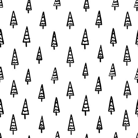 Hand Draw Christmas Tree Seamless Pattern in Doodle style. Vector Monochrome Endless Background of Christmas Trees isolated on white background. Template for Postcards, packaging, printing on fabric