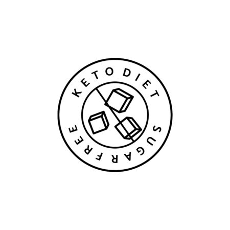 Ketogenic Diet Round Logo Line Style. Minimalistic Icon from carbs and sugar free.