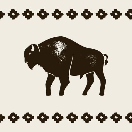 Bison Silhouette Icon. Vector Hand draw bison Symbol of America In Retro style with Grunge Texture on a Light background.