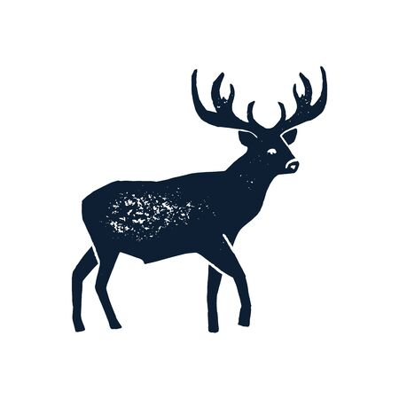 Hand draw Deer Silhouette Grunge. Vector illustration of a Wild Animal stag Isolated on a white background with a worn texture. 版權商用圖片 - 131548243