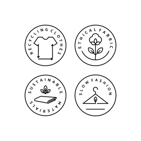 Set Icona Lineare Slow Fashion. Logo vettoriale, distintivo per la produzione ecologica. Simbolo dell'abbigliamento naturale e di qualità. Riciclaggio dei vestiti. Moda consapevole. Materiali Etici ed Eco Sostenibili. Logo