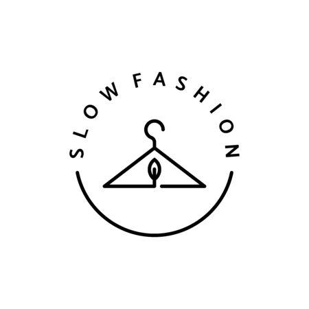 Linear Icon Ethischer Stoff. Vektorlogo, Abzeichen für umweltfreundliche Herstellung. Ein Symbol für die natürliche und hochwertige Kleidung. Kleidung recyceln. Bewusste Mode. Ethische und ökologisch nachhaltige Materialien.