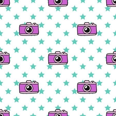 Hand Draw Camera and the stars Seamless Pattern. Vector colorful Endless background in Doodle style. Texture For printing on fabric, wrapping paper, textiles, Wallpaper and other things.