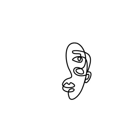 The Woman's Face Minimal Line Style. Continuous One Line drawing Abstract Vector Portrait of a female Isolated on a White Background.