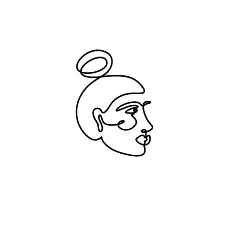 The Womans Face Minimal Line Style. Continuous One Line drawing Abstract Vector Portrait of a female Isolated on a White Background.