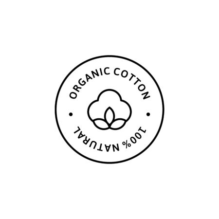 Natural Organic Cotton Liner labels and badges - Vector Round Icon, Sticker, Logo, Stamp, Tag Cotton Flower Isolated on White Background