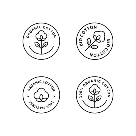 Set of Natural Organic Cotton Liner labels and badges - Vector Round Icon, Sticker, Logo, Stamp, Tag Cotton Flower Isolated on White Background