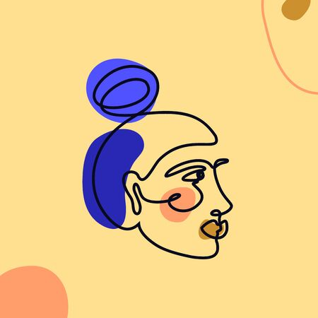 The Womans Face Minimal Line Style. Continuous One Line drawing Abstract Vector Portrait of a female Isolated on a yellow Background.
