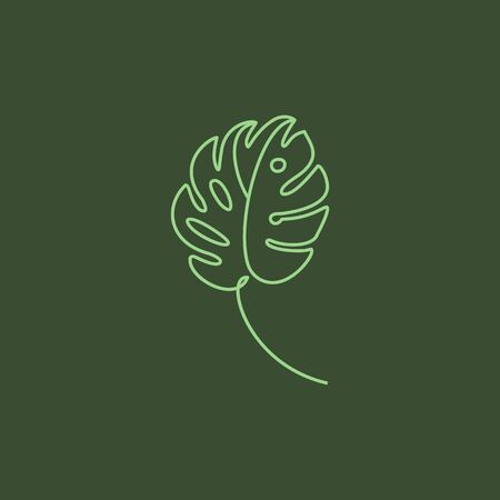 Monstera leaf Minimal Line Style. Continuous One Line drawing Abstract Vector Tropical Palm Isolated on a Green Background.