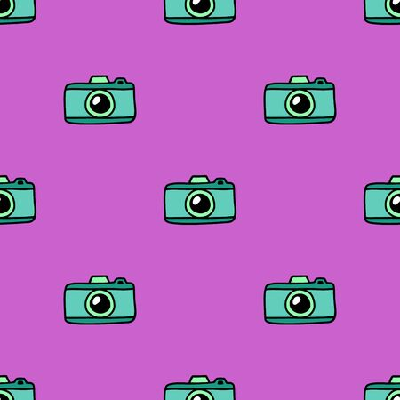 Hand Draw Camera Seamless Pattern. Vector colorful Pink Endless background in Doodle style. Texture For printing on fabric, wrapping paper, textiles, Wallpaper and other things. 일러스트