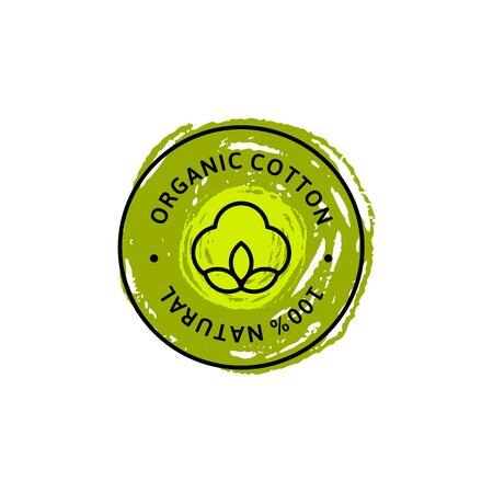 Natural Organic Cotton Liner labels and badges and hand draw pencil texture Vektorgrafik
