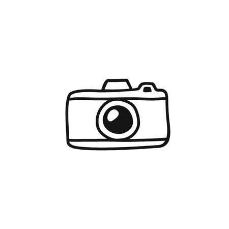 Hand draw Photo Camera Line Illustration. Vector clip art in Simple Doodle Style camera Icon. Silhouette of Vintage camera Isolated on White Background. 일러스트