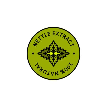 Nettle leaf Extract herbal organic badge and icon in trend linear style