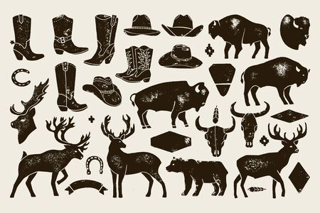 Big set of Hand Draw vintage native American signs from Deer, Buffalo, Cowboy Boots and Hats, cow Skulls, bear. 免版税图像 - 129788014