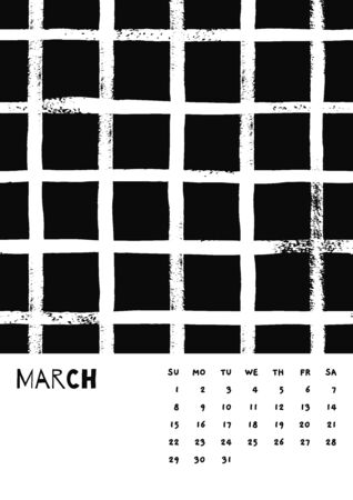 2020 March English Calendar Abstract Vector Hand Draw brush stroke black and white. Stok Fotoğraf - 129788021