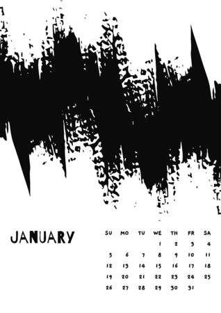 2020 January English Calendar Abstract Vector Hand Draw brush stroke black and white. Çizim