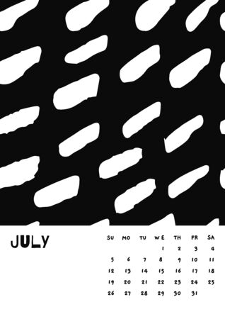 2020 July English Calendar Abstract Vector Hand Draw brush stroke black and white. Çizim