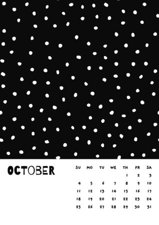 2020 October English Calendar Abstract Vector Hand Draw polka dot black and white.