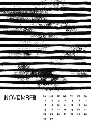 2020 November English Calendar Abstract Vector Hand Draw brush stroke black and white.