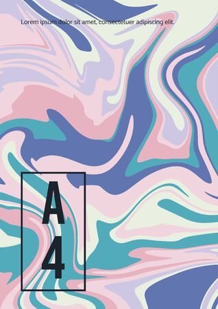 Marble pastel texture. Vector abstract background A4. Fluid art. Liquid mixed paint colors pink, blue, white.
