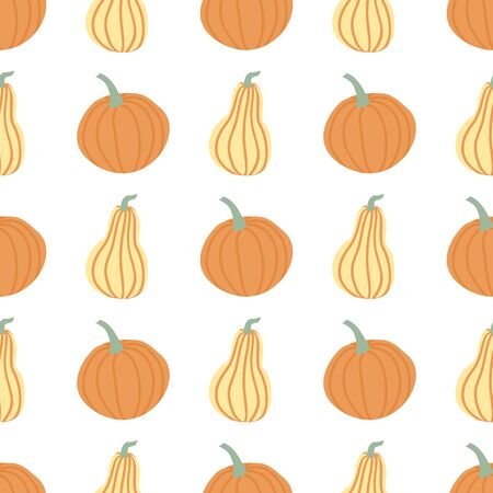 Hand draw Pumpkin Seamless Pattern in simple Doodle Style Vector Background Pumpkins in Pastel color of different shapes isolated on white Background. Иллюстрация