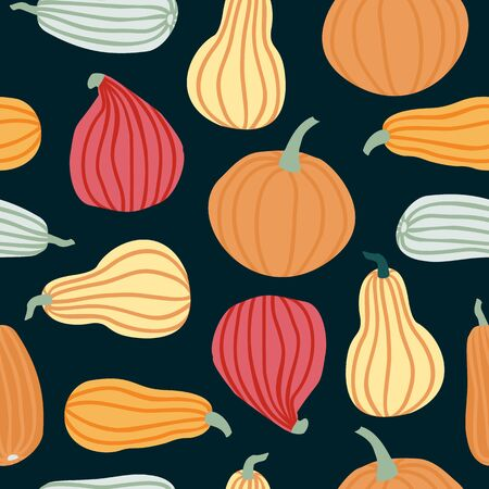 Hand draw Pumpkin Seamless Pattern in simple Doodle Style Vector Background colorful Pumpkins of different shapes and sizes isolated on dark background. Иллюстрация