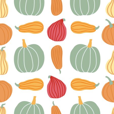 Hand draw Pumpkin Seamless Pattern in simple Doodle Style Vector Background Pumpkins in Pastel color of different shapes and sizes.