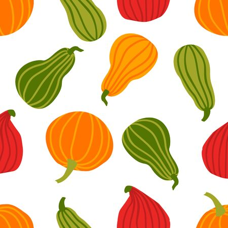 Hand draw Pumpkin Seamless Pattern in simple Doodle Style Vector Background colorful Pumpkins of different shapes and sizes isolated on white Background. Иллюстрация