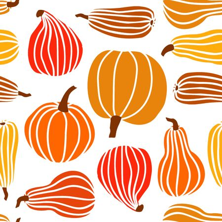Hand draw Pumpkin Seamless Pattern in simple Doodle Style Vector Background colorful Pumpkins of different shapes and sizes isolated on white Background. Template for Halloween, Thanksgiving, Harvest Иллюстрация